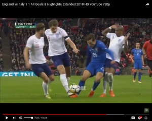 Moment-of-contact VAR review makes this a pen - bad luck Tarko Italy friendly penalty