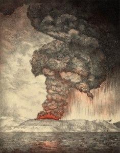 Krakatoa eruption lithograph (public domain)