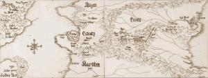 Witch World map showing Estcarp andEscore,  including the High Hallack and Arvon