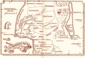 Map from the the Age of Conan (the Hyborian Map) which RE Howard places circa 10,000 BC (the Hyborian Map)