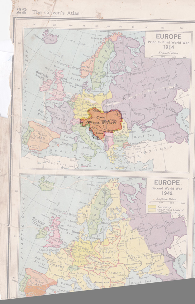 Austro-Hungarian Empire highlighted in map of Europe pre-1914
